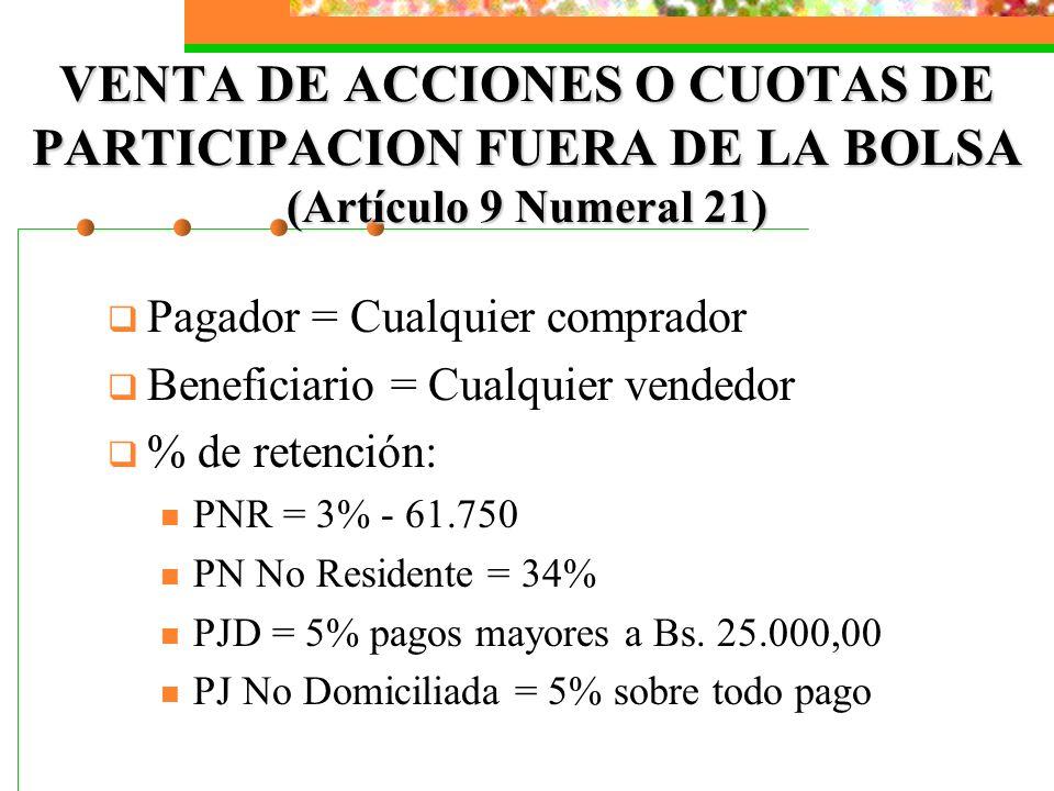 VENTA DE ACCIONES O CUOTAS DE PARTICIPACION FUERA DE LA BOLSA (Artículo 9 Numeral 21) Pagador = Cualquier comprador Beneficiario = Cualquier vendedor