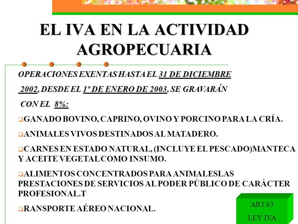 EL IVA EN LA ACTIVIDAD AGROPECUARIA OPERACIONES EXENTAS HASTA EL 31 DE DICIEMBRE 2002, DESDE EL 1º DE ENERO DE 2003, SE GRAVARÁN 2002, DESDE EL 1º DE