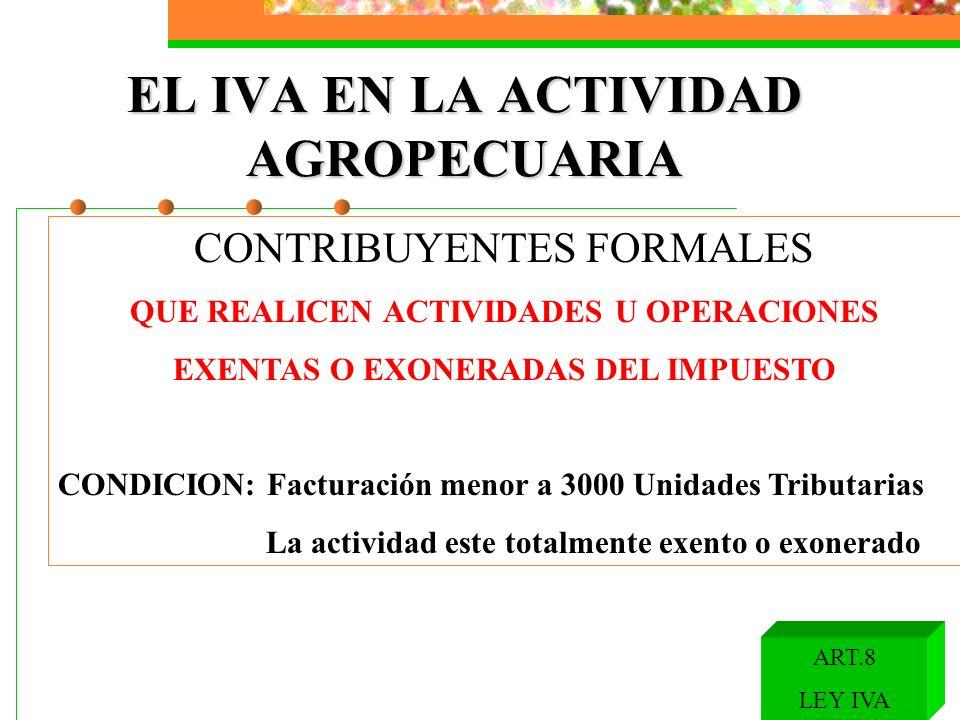 EL IVA EN LA ACTIVIDAD AGROPECUARIA CONTRIBUYENTES FORMALES QUE REALICEN ACTIVIDADES U OPERACIONES EXENTAS O EXONERADAS DEL IMPUESTO CONDICION: Factur