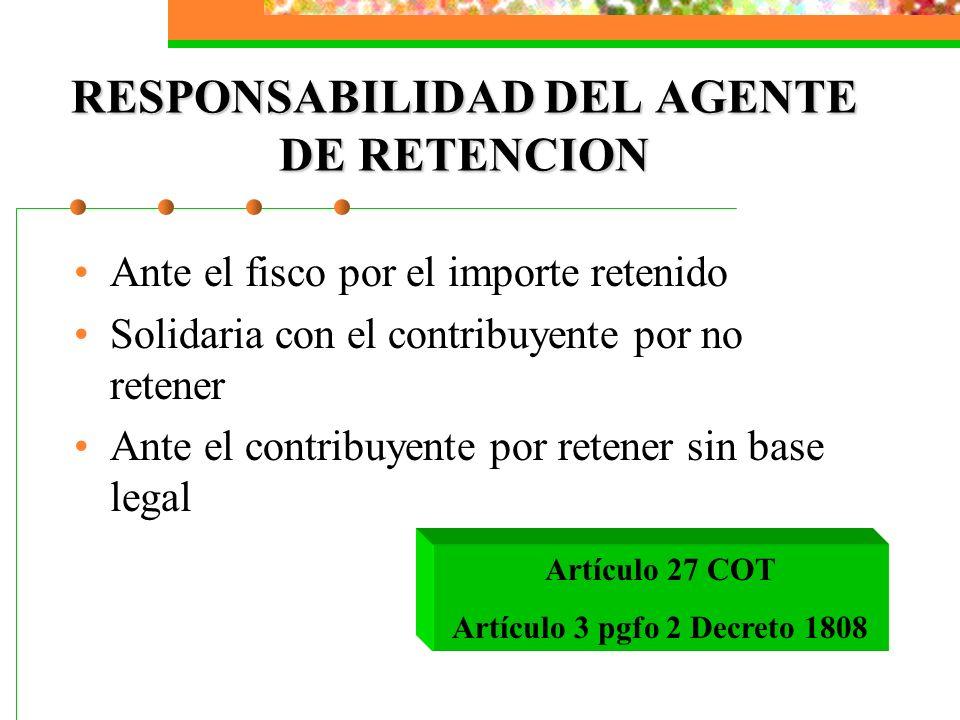 RESPONSABILIDAD DEL AGENTE DE RETENCION Ante el fisco por el importe retenido Solidaria con el contribuyente por no retener Ante el contribuyente por