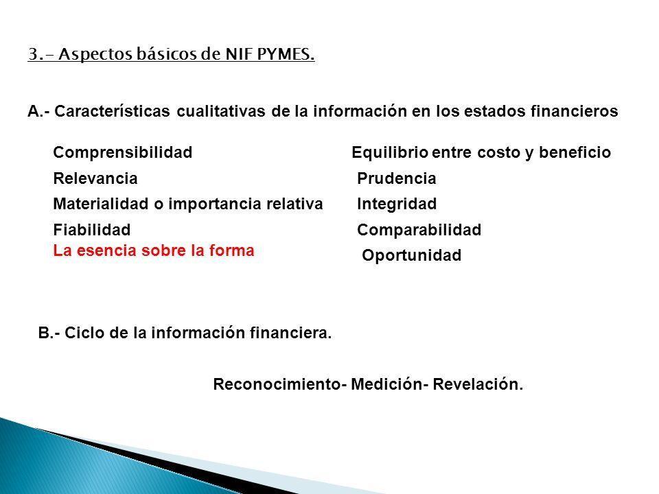 A.- Características cualitativas de la información en los estados financieros Comprensibilidad Relevancia Materialidad o importancia relativa Fiabilid