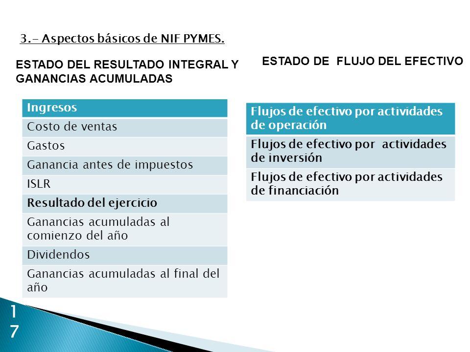 17 ESTADO DEL RESULTADO INTEGRAL Y GANANCIAS ACUMULADAS 3.- Aspectos básicos de NIF PYMES. Flujos de efectivo por actividades de operación Flujos de e
