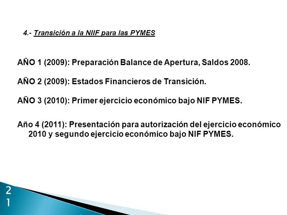 21 4.- Transición a la NIIF para las PYMES AÑO 1 (2009): Preparación Balance de Apertura, Saldos 2008. AÑO 2 (2009): Estados Financieros de Transición