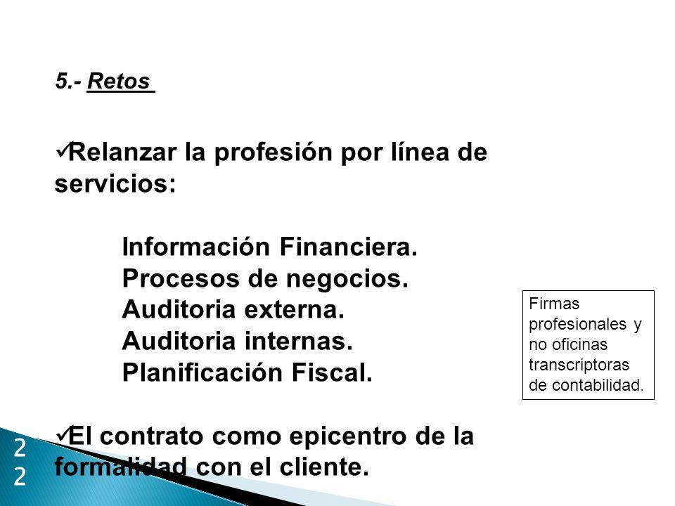 22 5.- Retos Relanzar la profesión por línea de servicios: Información Financiera. Procesos de negocios. Auditoria externa. Auditoria internas. Planif