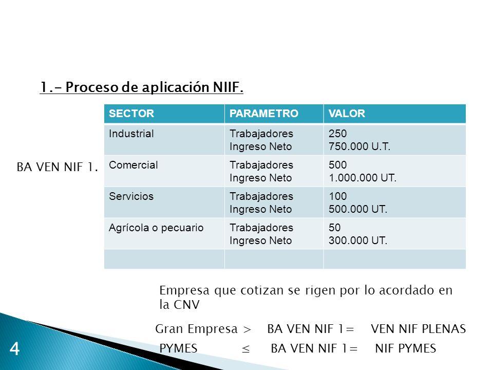 4 1.- Proceso de aplicación NIIF. SECTORPARAMETROVALOR IndustrialTrabajadores Ingreso Neto 250 750.000 U.T. ComercialTrabajadores Ingreso Neto 500 1.0