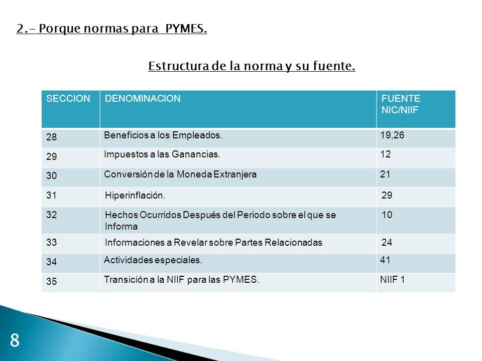 9 2.- Porque normas para PYMES.A.- Presentación de la información por segmentos.