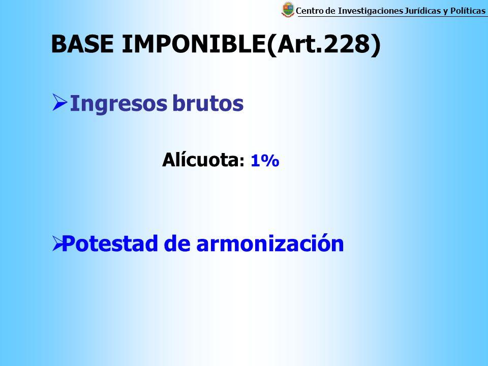 BASE IMPONIBLE(Art.228) Ingresos brutos Alícuota : 1% Potestad de armonización Centro de Investigaciones Jurídicas y Políticas