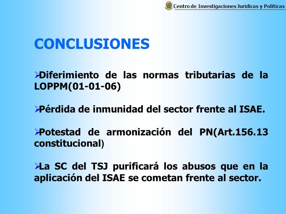 CONCLUSIONES Diferimiento de las normas tributarias de la LOPPM(01-01-06) Pérdida de inmunidad del sector frente al ISAE.