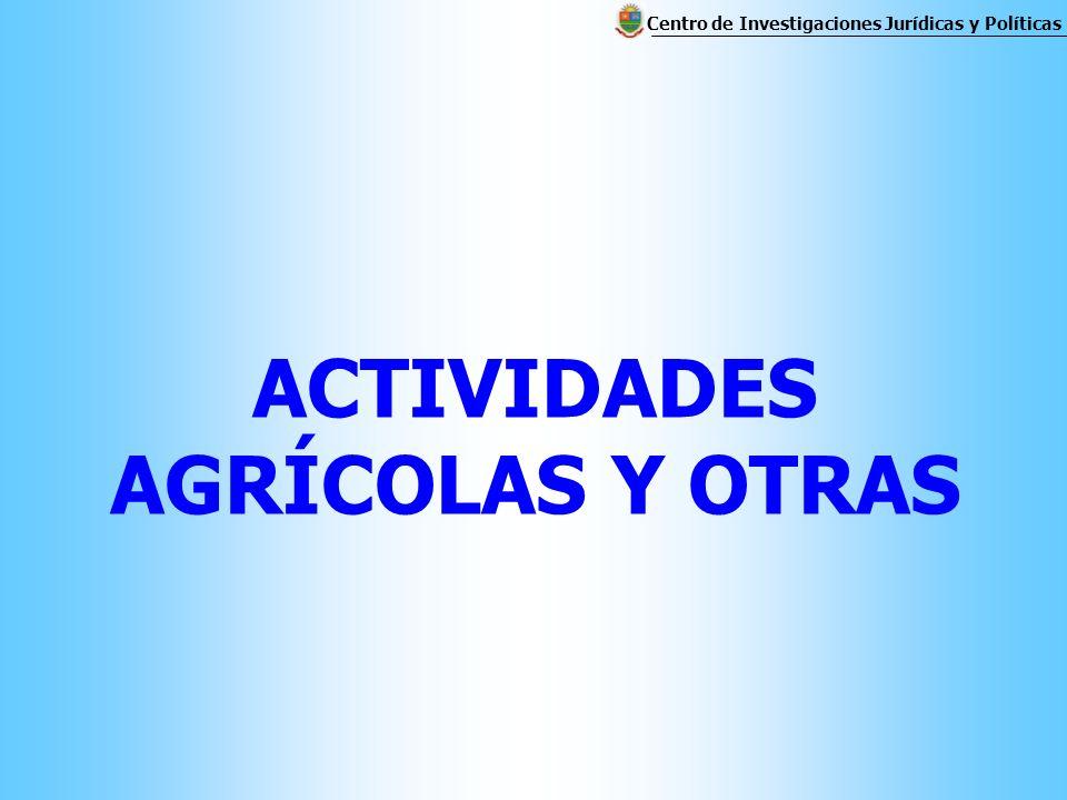 ACTIVIDADES AGRÍCOLAS Y OTRAS Centro de Investigaciones Jurídicas y Políticas