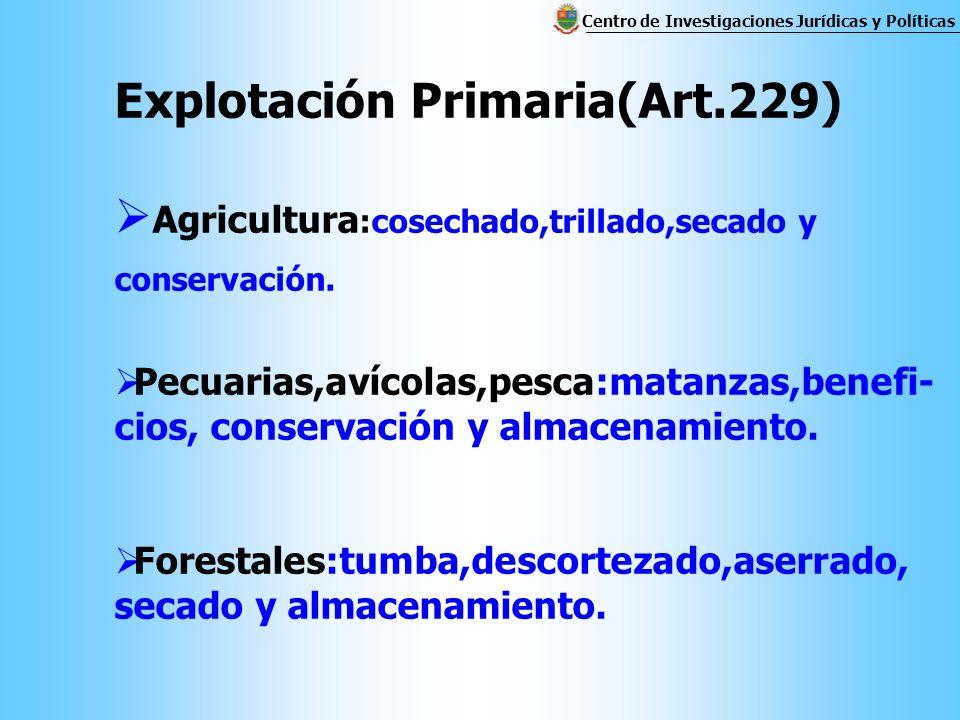 Explotación Primaria(Art.229) Agricultura :cosechado,trillado,secado y conservación.