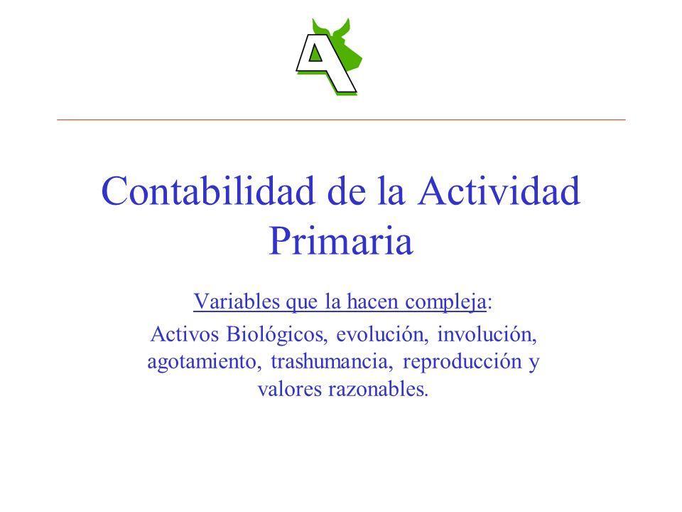 Contabilidad de la Actividad Primaria Variables que la hacen compleja: Activos Biológicos, evolución, involución, agotamiento, trashumancia, reproducc