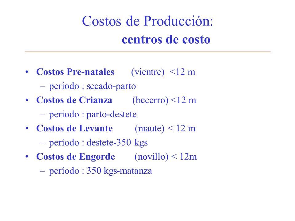 Costos de Producción: centros de costo Costos Pre-natales (vientre) <12 m –período : secado-parto Costos de Crianza (becerro) <12 m –período : parto-d