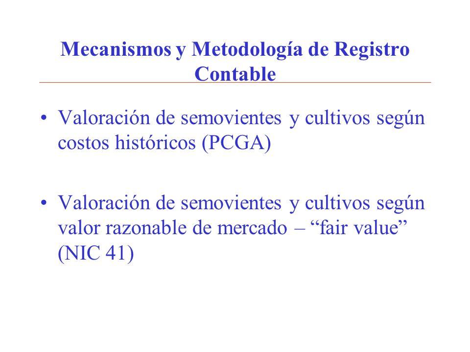 Mecanismos y Metodología de Registro Contable Valoración de semovientes y cultivos según costos históricos (PCGA) Valoración de semovientes y cultivos