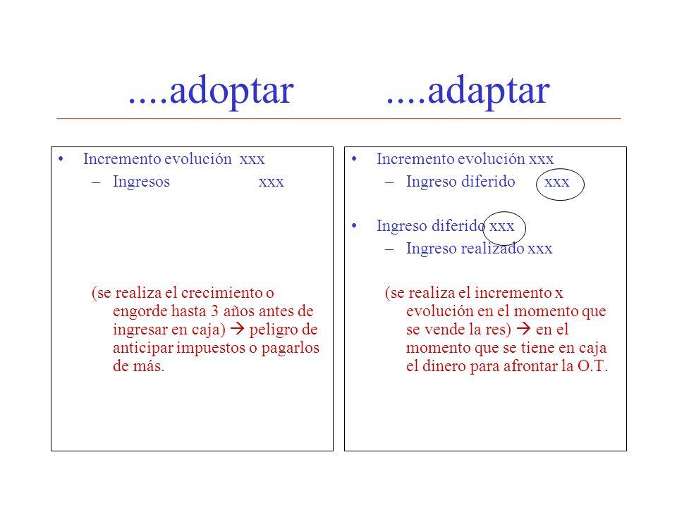 ....adoptar....adaptar Incremento evolución xxx –Ingresos xxx (se realiza el crecimiento o engorde hasta 3 años antes de ingresar en caja) peligro de