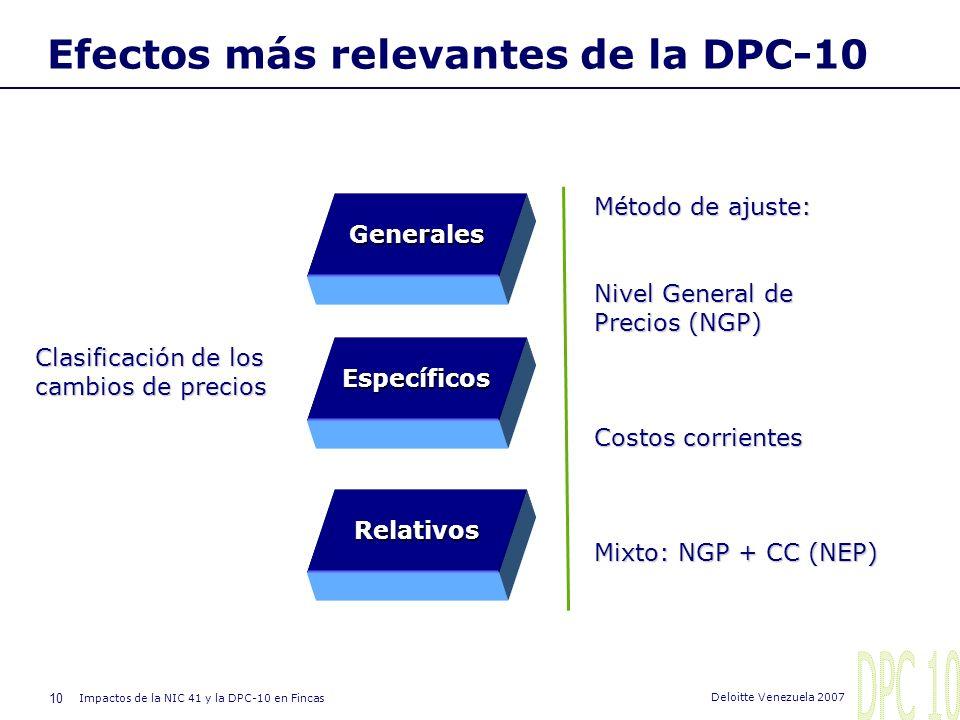 9 Impactos de la NIC 41 y la DPC-10 en Fincas Deloitte Venezuela 2007 Efectos más relevantes de la DPC-10 Esta norma se emitió considerando que en Ven