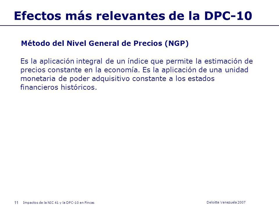 10 Impactos de la NIC 41 y la DPC-10 en Fincas Deloitte Venezuela 2007 Efectos más relevantes de la DPC-10 Clasificación de los cambios de precios Gen