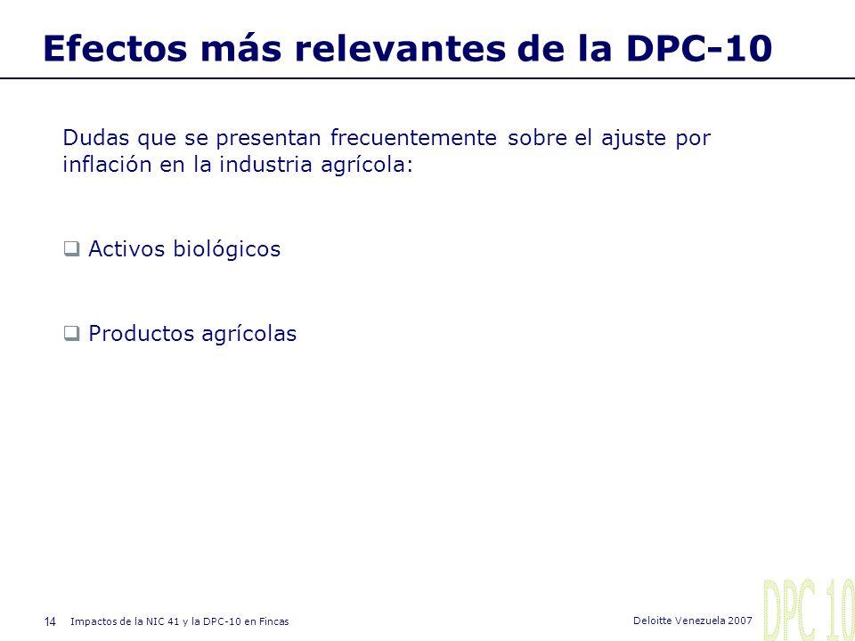 13 Impactos de la NIC 41 y la DPC-10 en Fincas Deloitte Venezuela 2007 Procedimiento general de ajuste I. Balance General (cont.): 3.- Determinar el c