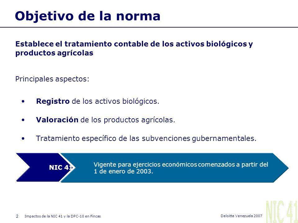 2 Impactos de la NIC 41 y la DPC-10 en Fincas Deloitte Venezuela 2007 Objetivo de la norma Establece el tratamiento contable de los activos biológicos y productos agrícolas Principales aspectos: Registro de los activos biológicos.