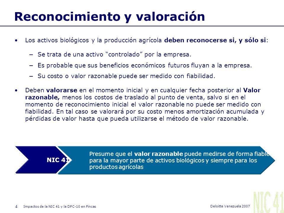 4 Impactos de la NIC 41 y la DPC-10 en Fincas Deloitte Venezuela 2007 Reconocimiento y valoración Los activos biológicos y la producción agrícola deben reconocerse si, y sólo si: Se trata de una activo controlado por la empresa.