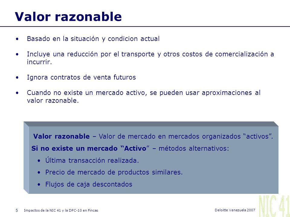 4 Impactos de la NIC 41 y la DPC-10 en Fincas Deloitte Venezuela 2007 Reconocimiento y valoración Los activos biológicos y la producción agrícola debe