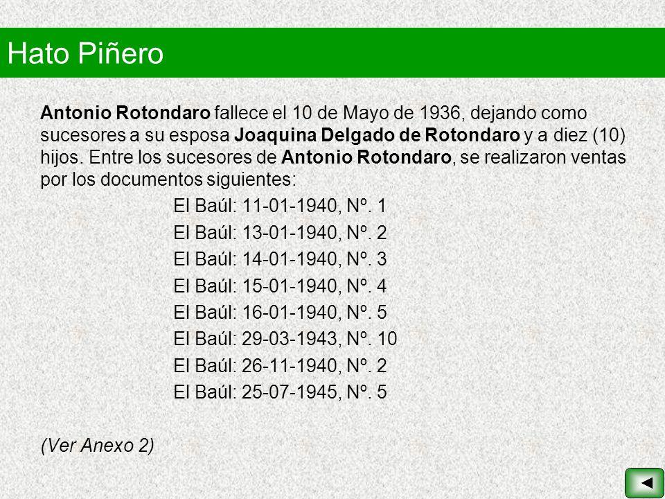 Hato Piñero Antonio Rotondaro fallece el 10 de Mayo de 1936, dejando como sucesores a su esposa Joaquina Delgado de Rotondaro y a diez (10) hijos. Ent