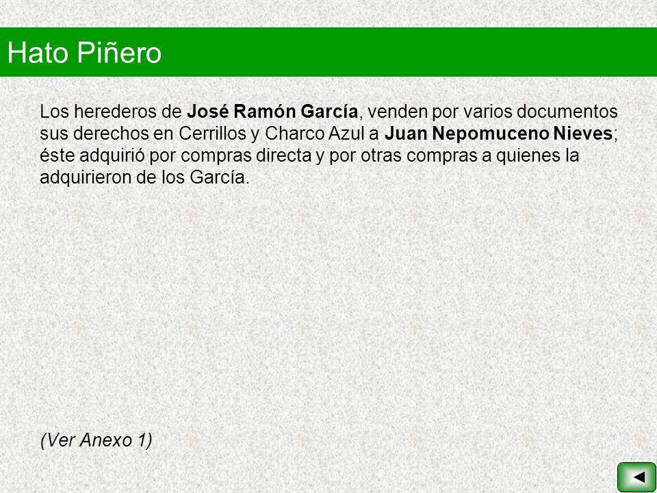 Hato Piñero Los herederos de José Ramón García, venden por varios documentos sus derechos en Cerrillos y Charco Azul a Juan Nepomuceno Nieves; éste ad