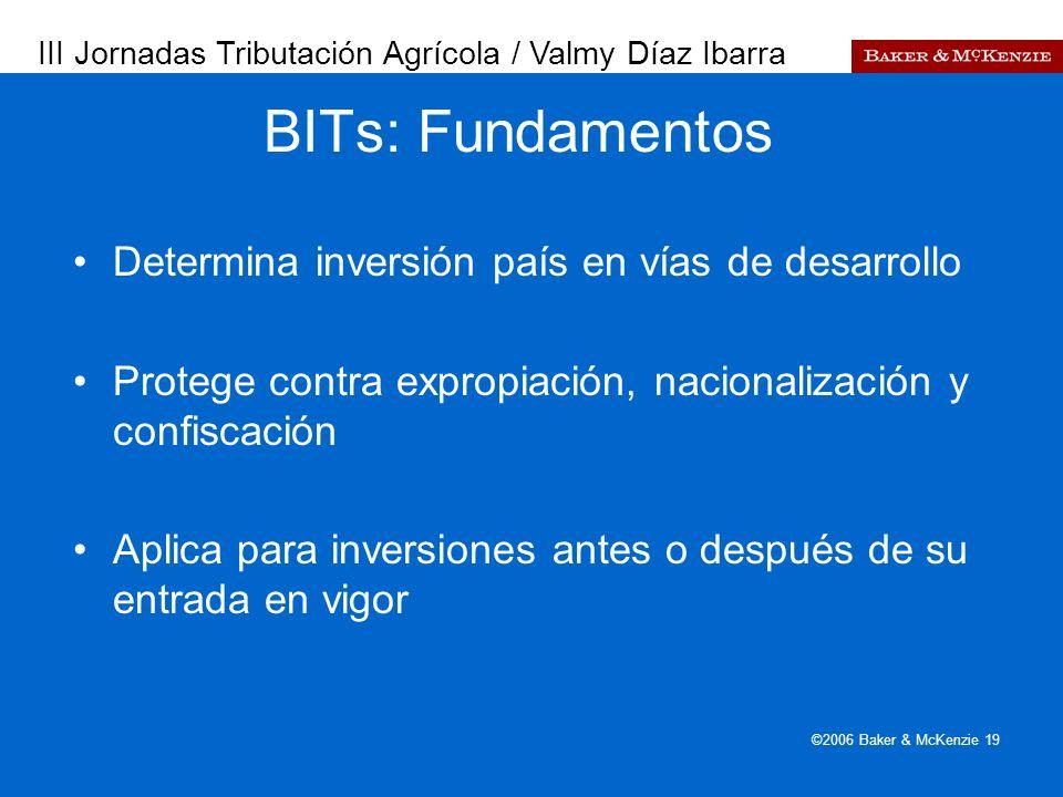 Presentación a AutoAmbar-Nissan ©2006 Baker & McKenzie 19 Determina inversión país en vías de desarrollo Protege contra expropiación, nacionalización y confiscación Aplica para inversiones antes o después de su entrada en vigor BITs: Fundamentos III Jornadas Tributación Agrícola / Valmy Díaz Ibarra