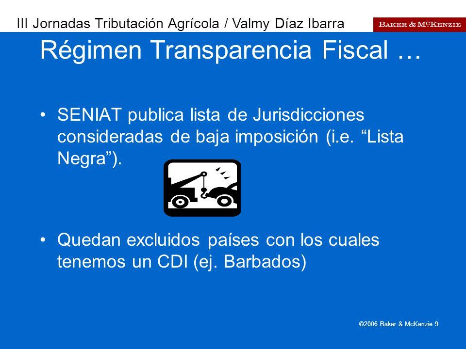 Presentación a AutoAmbar-Nissan ©2006 Baker & McKenzie 9 ÁMBITO DE APLICACIÓN.... SENIAT publica lista de Jurisdicciones consideradas de baja imposici