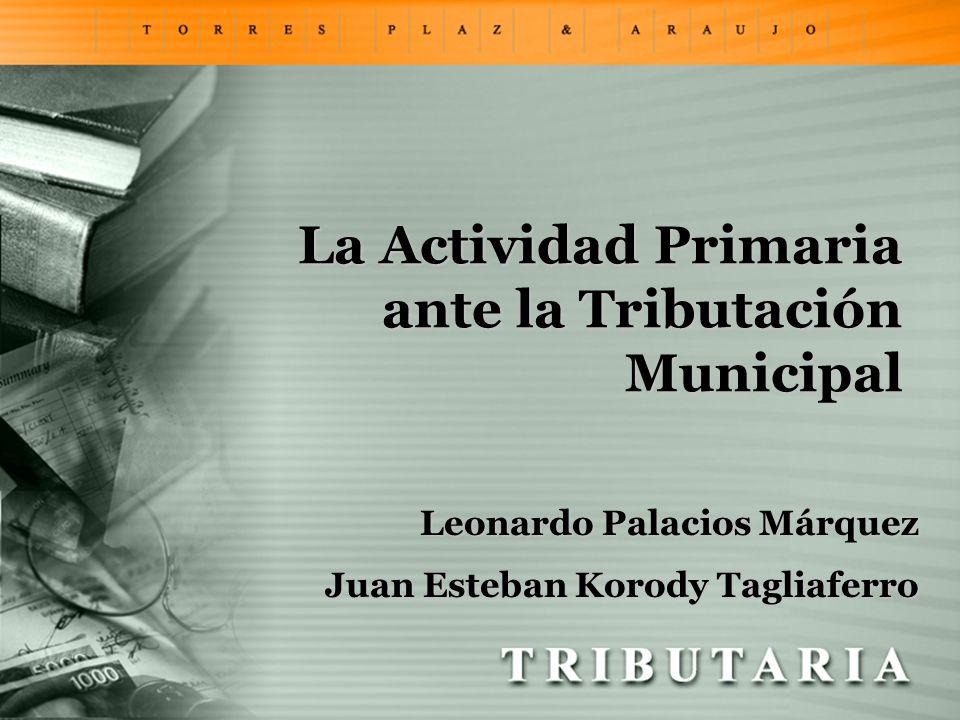La Actividad Primaria ante la Tributación Municipal Leonardo Palacios Márquez Juan Esteban Korody Tagliaferro