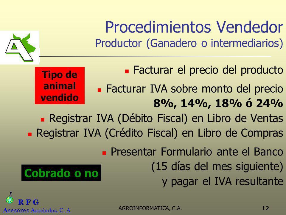 R F G R F G A sesores A sociados, C. A AGROINFORMATICA, C.A.12 Procedimientos Vendedor Productor (Ganadero o intermediarios) Facturar el precio del pr