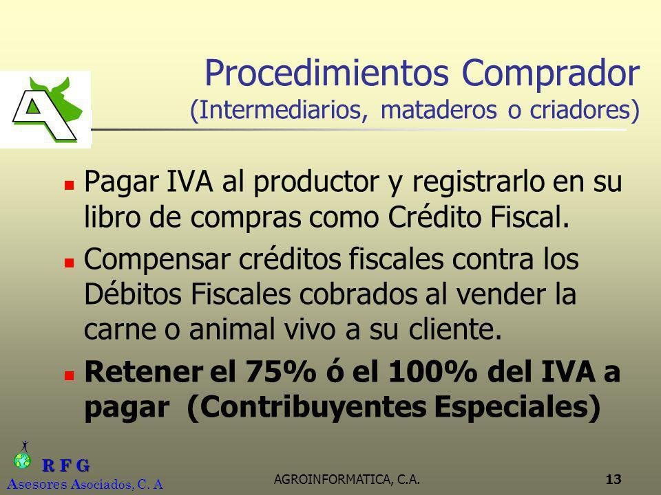 R F G R F G A sesores A sociados, C. A AGROINFORMATICA, C.A.13 Procedimientos Comprador (Intermediarios, mataderos o criadores) Pagar IVA al productor