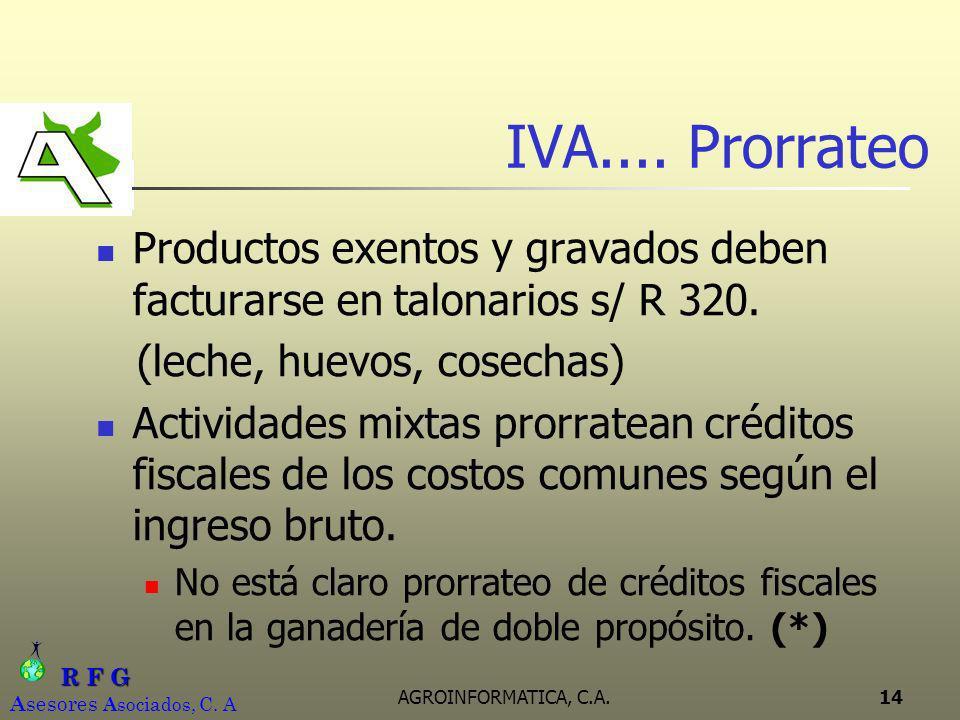 R F G R F G A sesores A sociados, C. A AGROINFORMATICA, C.A.14 IVA.... Prorrateo Productos exentos y gravados deben facturarse en talonarios s/ R 320.