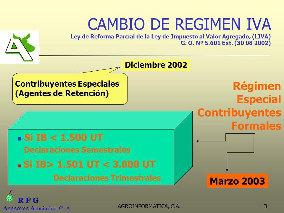 R F G R F G A sesores A sociados, C. A AGROINFORMATICA, C.A.3 CAMBIO DE REGIMEN IVA Ley de Reforma Parcial de la Ley de Impuesto al Valor Agregado, (L