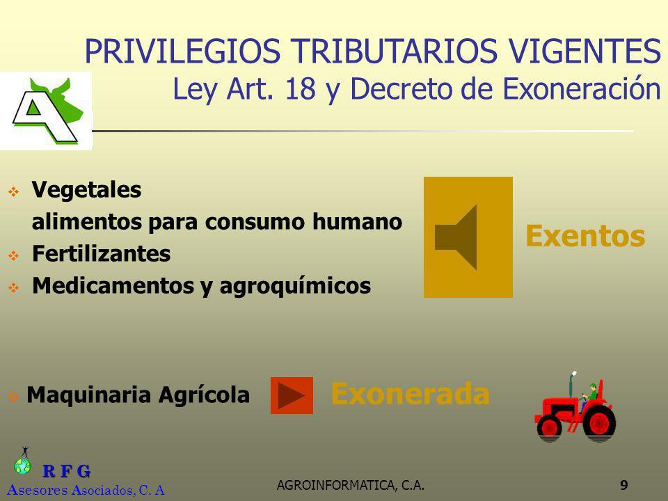 R F G R F G A sesores A sociados, C. A AGROINFORMATICA, C.A.9 PRIVILEGIOS TRIBUTARIOS VIGENTES Ley Art. 18 y Decreto de Exoneración Vegetales alimento