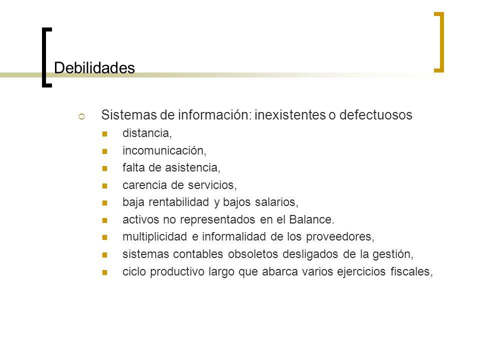 Debilidades Sistemas de información: inexistentes o defectuosos distancia, incomunicación, falta de asistencia, carencia de servicios, baja rentabilidad y bajos salarios, activos no representados en el Balance.