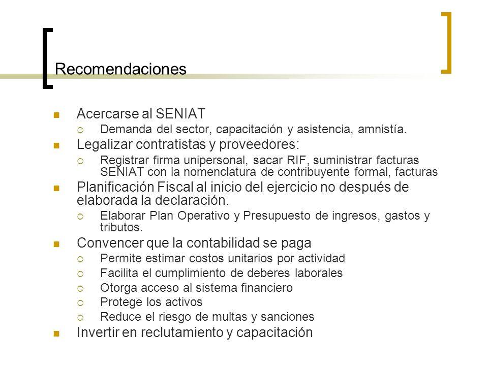 Recomendaciones Acercarse al SENIAT Demanda del sector, capacitación y asistencia, amnistía.