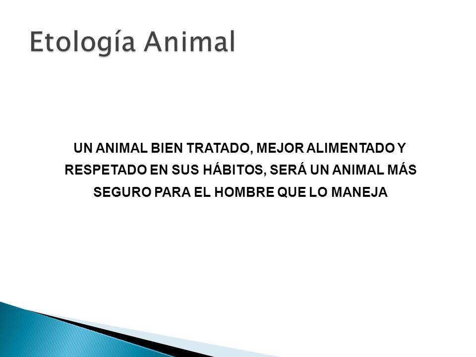 UN ANIMAL BIEN TRATADO, MEJOR ALIMENTADO Y RESPETADO EN SUS HÁBITOS, SERÁ UN ANIMAL MÁS SEGURO PARA EL HOMBRE QUE LO MANEJA
