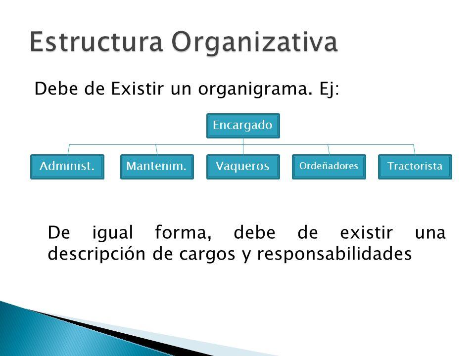 Debe de Existir un organigrama. Ej: De igual forma, debe de existir una descripción de cargos y responsabilidades Encargado Administ.Mantenim.Vaqueros