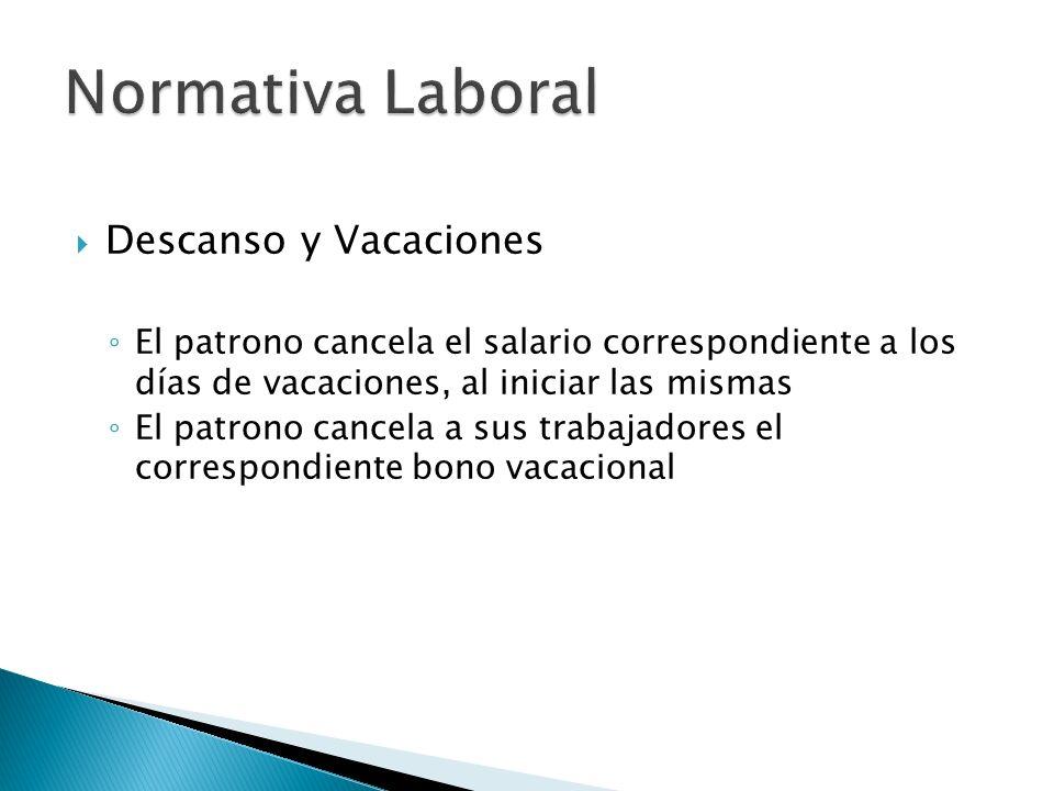 Descanso y Vacaciones El patrono cancela el salario correspondiente a los días de vacaciones, al iniciar las mismas El patrono cancela a sus trabajadores el correspondiente bono vacacional