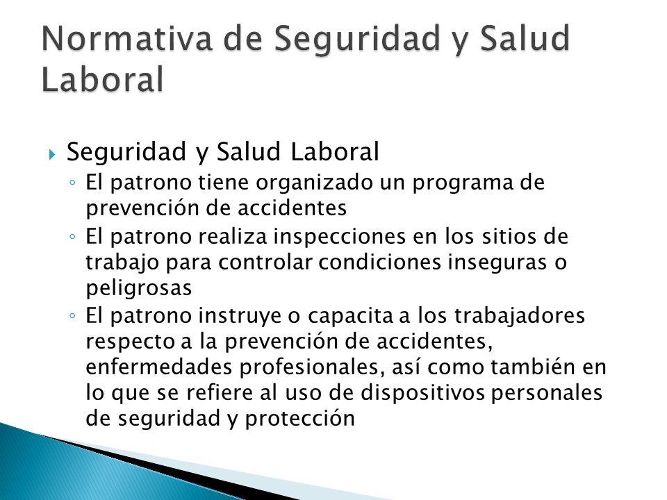 Seguridad y Salud Laboral El patrono tiene organizado un programa de prevención de accidentes El patrono realiza inspecciones en los sitios de trabajo