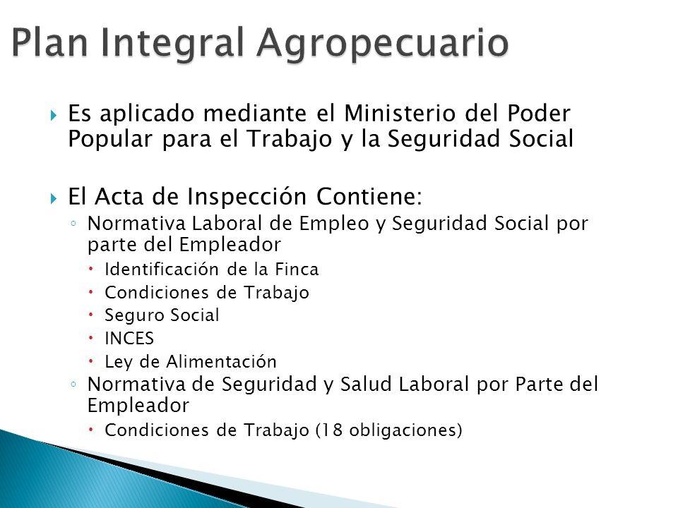 Es aplicado mediante el Ministerio del Poder Popular para el Trabajo y la Seguridad Social El Acta de Inspección Contiene: Normativa Laboral de Empleo