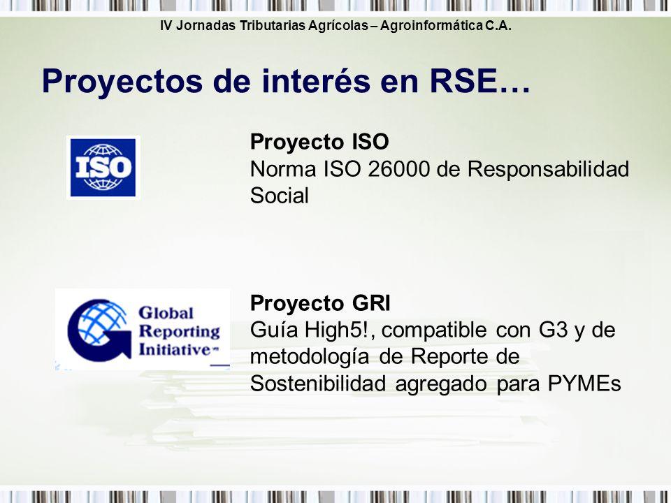 IV Jornadas Tributarias Agrícolas – Agroinformática C.A. Proyectos de interés en RSE… Proyecto ISO Norma ISO 26000 de Responsabilidad Social Proyecto