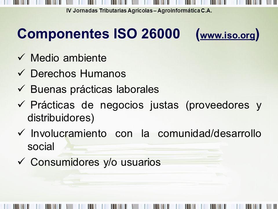 IV Jornadas Tributarias Agrícolas – Agroinformática C.A. Medio ambiente Derechos Humanos Buenas prácticas laborales Prácticas de negocios justas (prov