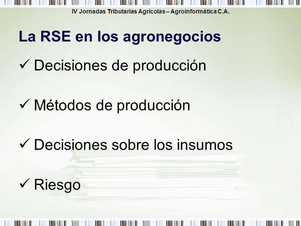 IV Jornadas Tributarias Agrícolas – Agroinformática C.A. Decisiones de producción Métodos de producción Decisiones sobre los insumos Riesgo La RSE en