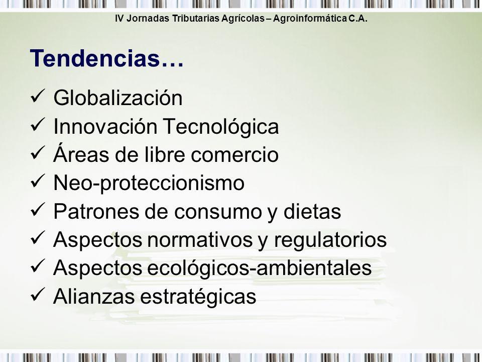 IV Jornadas Tributarias Agrícolas – Agroinformática C.A. Globalización Innovación Tecnológica Áreas de libre comercio Neo-proteccionismo Patrones de c