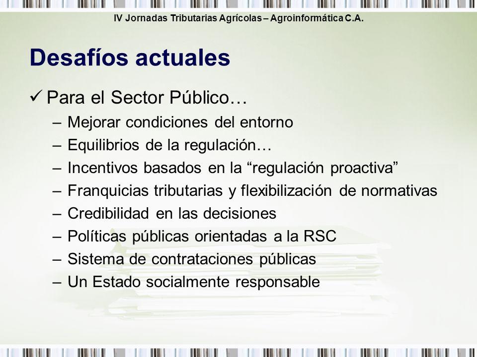 IV Jornadas Tributarias Agrícolas – Agroinformática C.A. Para el Sector Público… –Mejorar condiciones del entorno –Equilibrios de la regulación… –Ince