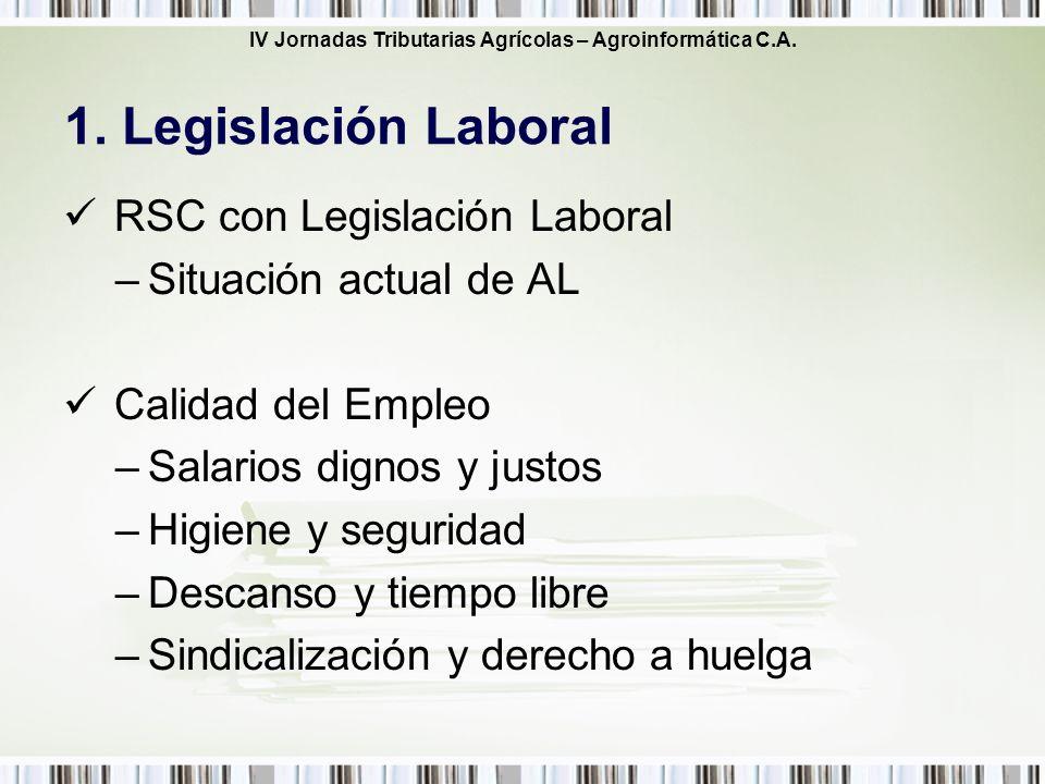 IV Jornadas Tributarias Agrícolas – Agroinformática C.A. RSC con Legislación Laboral –Situación actual de AL Calidad del Empleo –Salarios dignos y jus