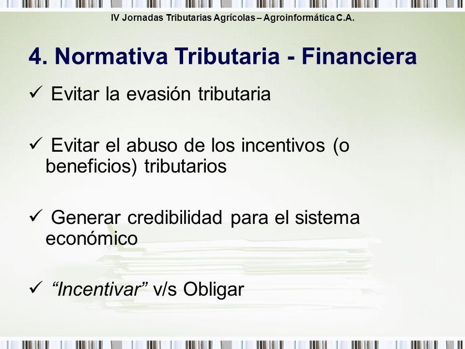 IV Jornadas Tributarias Agrícolas – Agroinformática C.A. Evitar la evasión tributaria Evitar el abuso de los incentivos (o beneficios) tributarios Gen