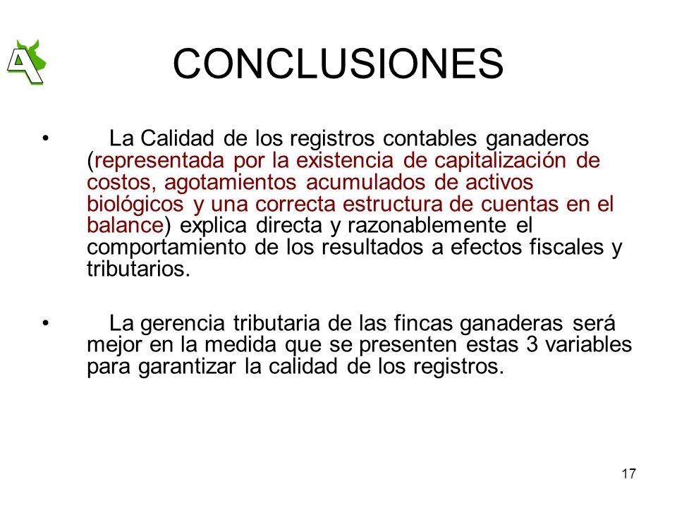 17 CONCLUSIONES La Calidad de los registros contables ganaderos (representada por la existencia de capitalización de costos, agotamientos acumulados d