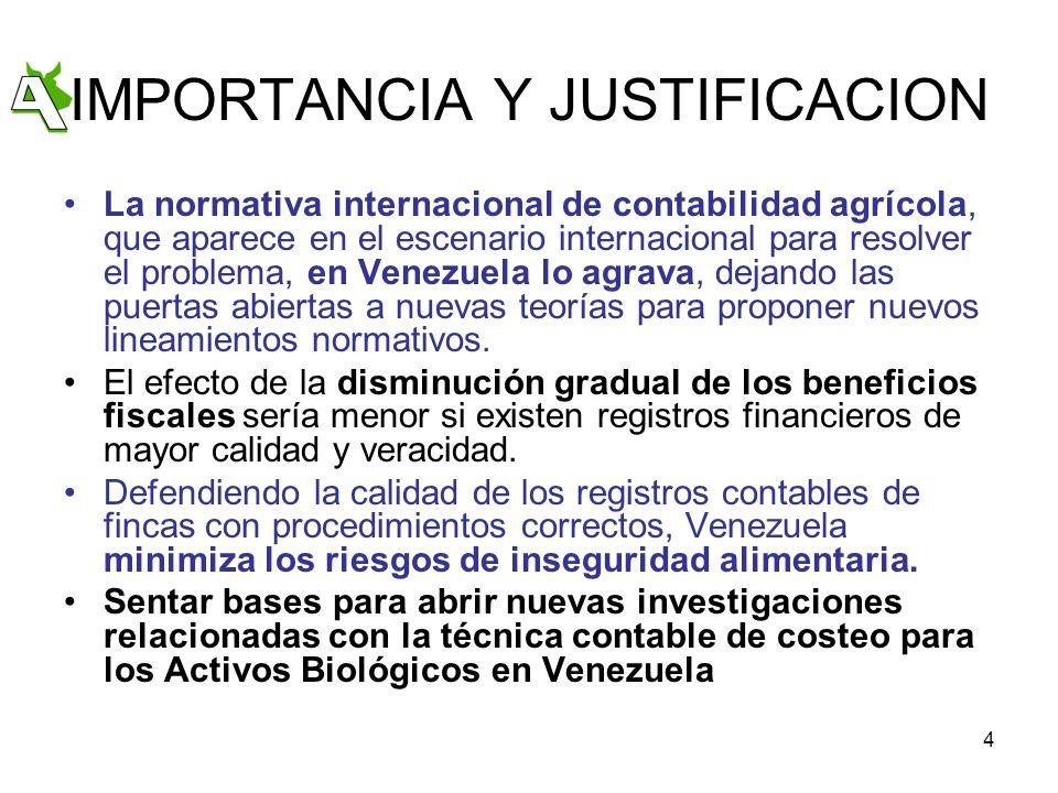 4 IMPORTANCIA Y JUSTIFICACION La normativa internacional de contabilidad agrícola, que aparece en el escenario internacional para resolver el problema